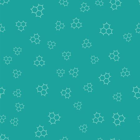 Green Chemical formula consisting of benzene rings icon isolated seamless pattern on green background. Vector Illustration