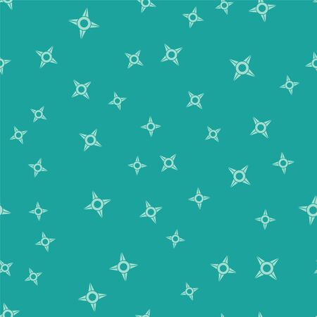 Green Japanese ninja shuriken icon isolated seamless pattern on green background. Vector Illustration Illusztráció