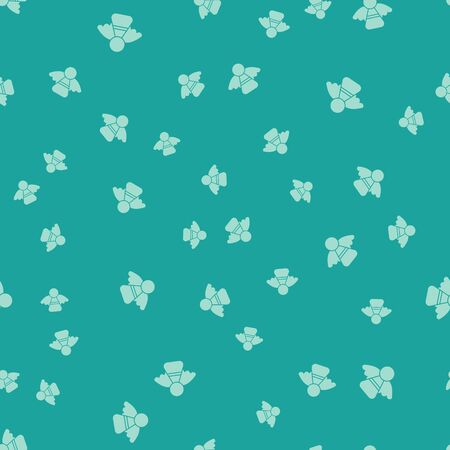 Green Christmas angel icon isolated seamless pattern on green background. Vector Illustration