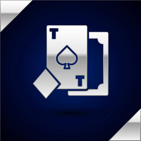 Silver Playing card with spades symbol icon isolated on dark blue background. Casino gambling.  Vector Illustration