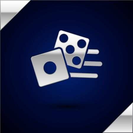 Silver Game dice icon isolated on dark blue background. Casino gambling.  Vector Illustration Illusztráció