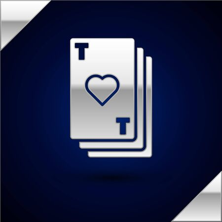 Silver Playing card with heart symbol icon isolated on dark blue background. Casino gambling.  Vector Illustration Ilustrace
