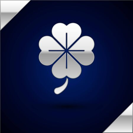 Silver Four leaf clover icon isolated on dark blue background. Happy Saint Patrick day.  Vector Illustration