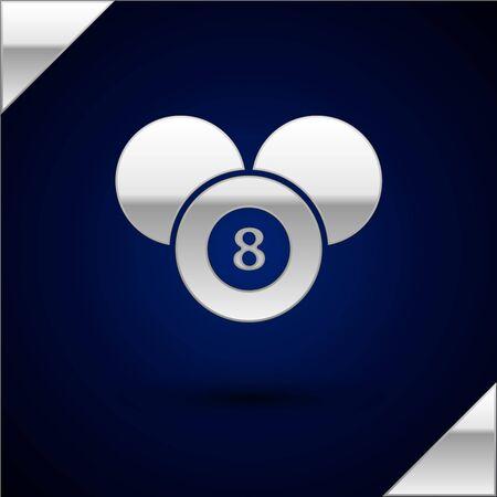 Silver Billiard pool snooker 8 ball icon isolated on dark blue background. Billiard eight ball.  Vector Illustration Illusztráció