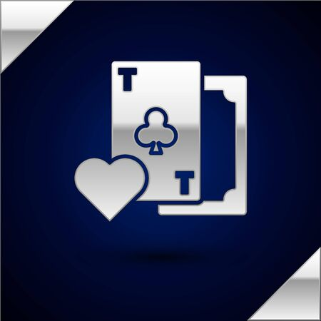 Silver Playing card with clubs symbol icon isolated on dark blue background. Casino gambling.  Vector Illustration
