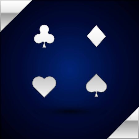 Silver Playing cards icon isolated on dark blue background. Casino gambling.  Vector Illustration Ilustrace