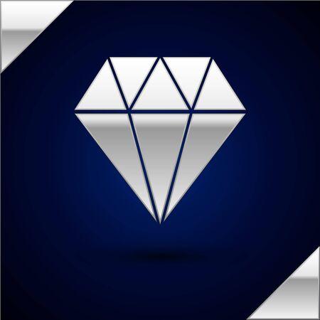 Silver Diamond icon isolated on dark blue background. Jewelry symbol. Gem stone.  Vector Illustration