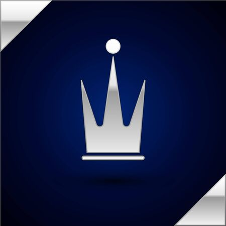 Silver Crown icon isolated on dark blue background.  Vector Illustration Ilustrace