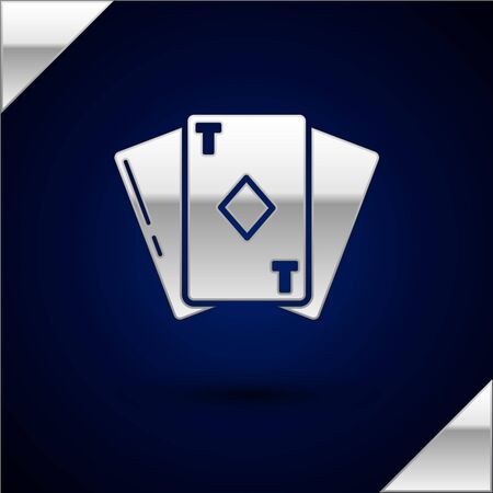Silver Playing card with diamonds symbol icon isolated on dark blue background. Casino gambling.  Vector Illustration