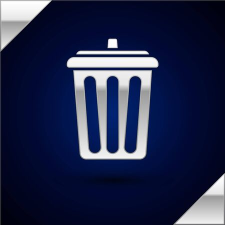 Silver Trash can icon isolated on dark blue background. Garbage bin sign. Recycle basket icon. Office trash icon.  Vector Illustration
