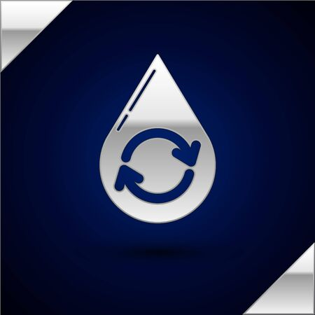 Silver Recycle clean aqua icon isolated on dark blue background. Drop of water with sign recycling. Vector Illustration Illustration