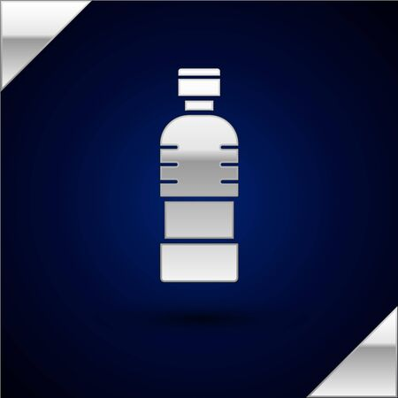 Silver Bottle of water icon isolated on dark blue background. Soda aqua drink sign. Vector Illustration