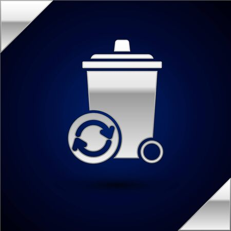 Silver Recycle bin with recycle symbol icon isolated on dark blue background. Trash can icon. Garbage bin sign. Recycle basket sign. Vector Illustration