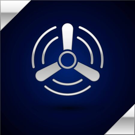 Silver Wind turbine icon isolated on dark blue background. Wind generator sign. Windmill for electric power production. Vector Illustration