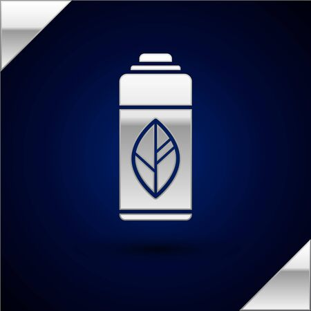 Silver Recycling plastic bottle icon isolated on dark blue background. Vector Illustration