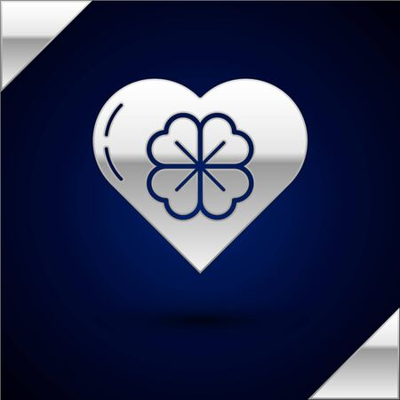 Silver Heart with four leaf clover icon isolated on dark blue background. Happy Saint Patrick day. Vector Illustration Illustration