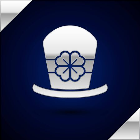 Silver Leprechaun hat and four leaf clover icon isolated on dark blue background. Happy Saint Patricks day. Vector Illustration Stock Vector - 134930868