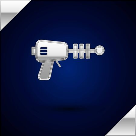Silver Ray gun icon isolated on dark blue background. Laser weapon. Space blaster. Vector Illustration 일러스트