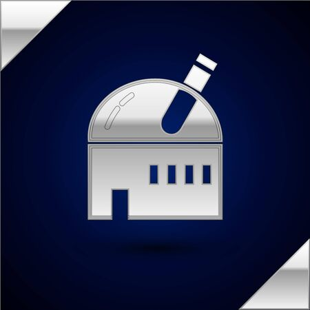 Silver Astronomical observatory icon isolated on dark blue background. Observatory with a telescope. Scientific institution. Vector Illustration