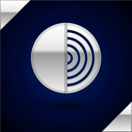 Silver Earth structure icon isolated on dark blue background. Geophysics concept with earth core and section layers earth. Vector Illustration Ilustração