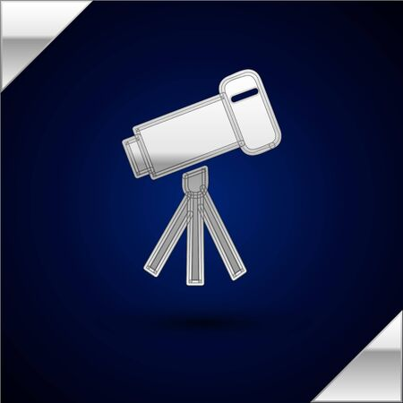 Silver Telescope icon isolated on dark blue background. Scientific tool. Education and astronomy element, spyglass and study stars. Vector Illustration