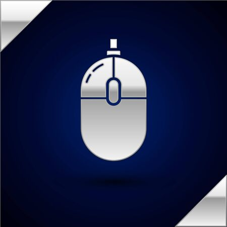 Silver Computer mouse icon isolated on dark blue background. Optical with wheel symbol. Vector Illustration