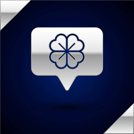 Silver Four leaf clover in speech bubble icon isolated on dark blue background. Happy Saint Patrick day. Vector Illustration