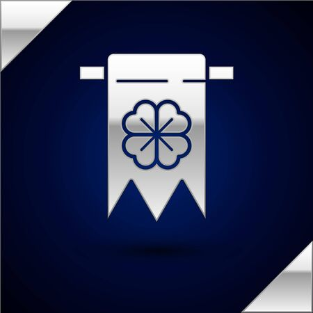 Silver Four leaf clover icon isolated on dark blue background. Party pennant for birthday celebration, festival. Happy Saint Patrick day. Vector Illustration