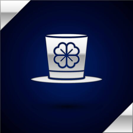 Silver Leprechaun hat and four leaf clover icon isolated on dark blue background. Happy Saint Patricks day. Vector Illustration