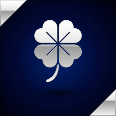 Silver Four leaf clover icon isolated on dark blue background. Happy Saint Patrick day. Vector Illustration Illustration