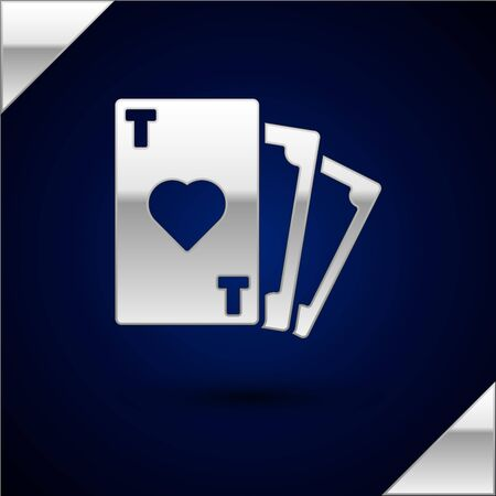 Silver Playing card with heart symbol icon isolated on dark blue background. Casino gambling. Vector Illustration