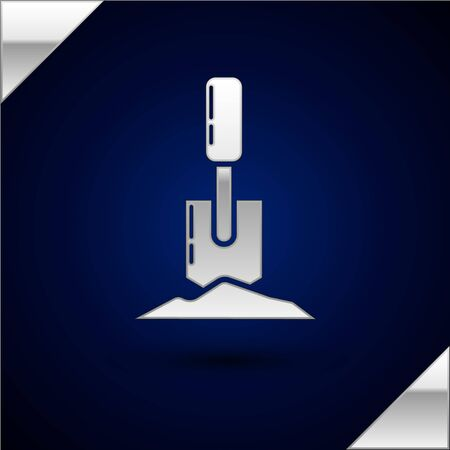 Silver Shovel in the ground icon isolated on dark blue background. Gardening tool. Tool for horticulture, agriculture, farming. Vector Illustration