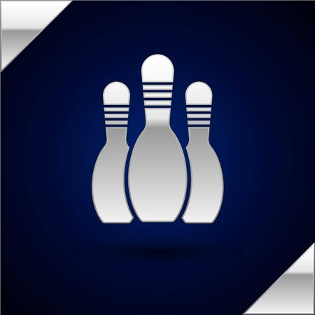 Silver Bowling pin icon isolated on dark blue background. Vector Illustration