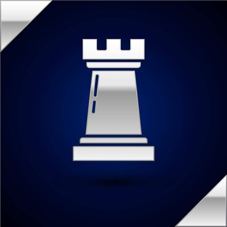 Silver Business strategy icon isolated on dark blue background. Chess symbol. Game, management, finance. Vector Illustration