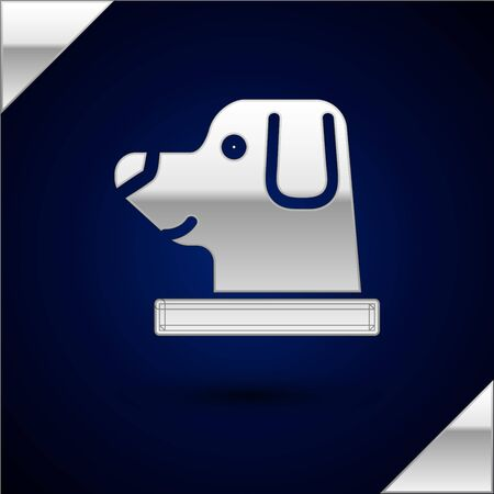 Silver Dog in astronaut helmet icon isolated on dark blue background. Vector Illustration
