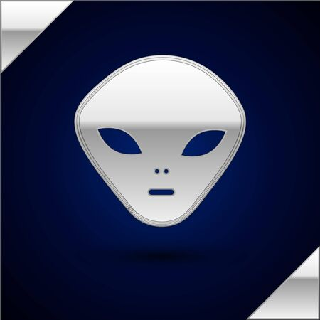 Silver Alien icon isolated on dark blue background. Extraterrestrial alien face or head symbol. Vector Illustration Illustration