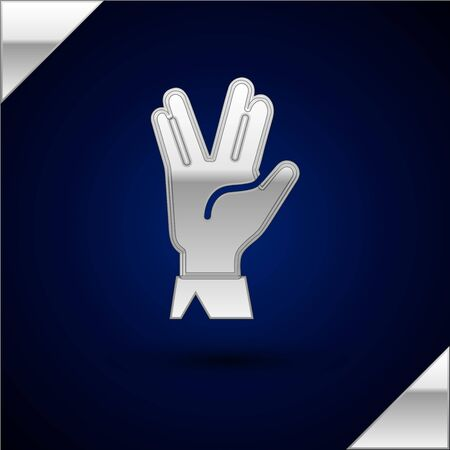 Silver Vulcan salute icon isolated on dark blue background. Hand with vulcan greet. Spock symbol. Vector Illustration