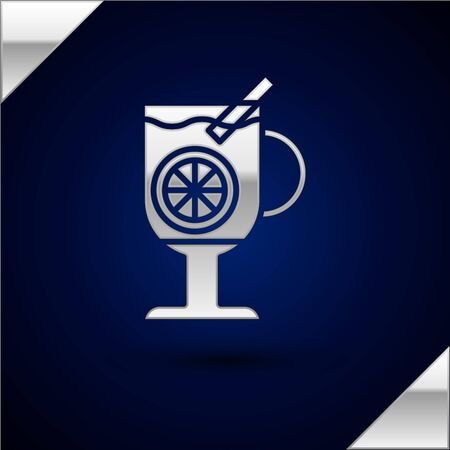 Silver Mulled wine with glass of drink and ingredients icon isolated on dark blue background. Cinnamon stick, clove, lemon slice. Vector Illustration Illustration