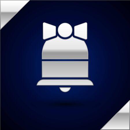 Silver Merry Christmas ringing bell icon isolated on dark blue background. Alarm symbol, service bell, handbell sign, notification symbol. Vector Illustration  イラスト・ベクター素材