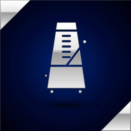 Silbernes klassisches Metronom mit Pendel in der Bewegungsikone lokalisiert auf dunkelblauem Hintergrund. Ausstattung von Musik und Schlagwerk. Vektorillustration