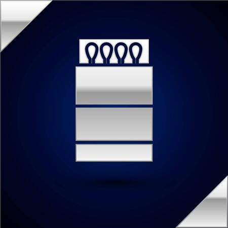 Silver Open matchbox and matches icon isolated on dark blue background. Vector Illustration