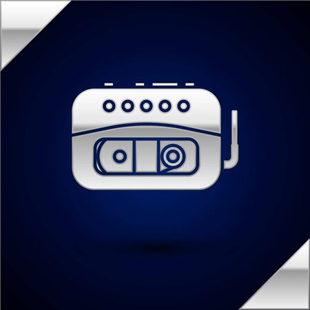 Silver Music tape player icon isolated on dark blue background. Portable music device. Vector Illustration Фото со стока - 134925007