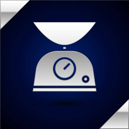 Silver Scales icon isolated on dark blue background. Weight measure equipment. Vector Illustration Illusztráció