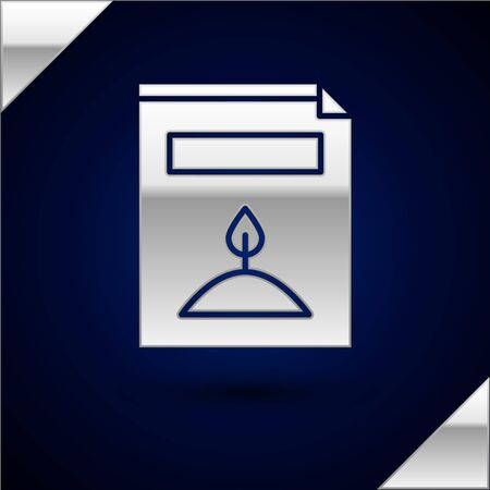 Silver A pack full of seeds of a specific plant icon isolated on dark blue background. Vector Illustration