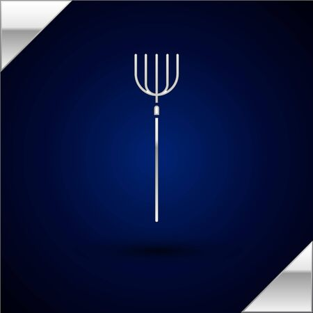 Silver Garden pitchfork icon isolated on dark blue background. Garden fork sign. Tool for horticulture, agriculture, farming. Vector Illustration