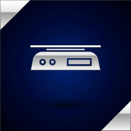 Silver Electronic scales icon isolated on dark blue background. Weight measure equipment. Vector Illustration Illusztráció
