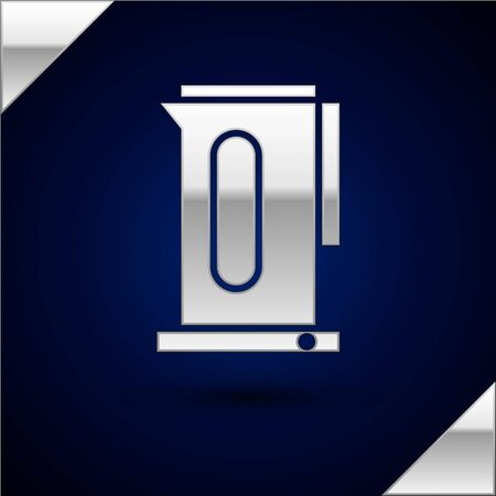 Silver Kettle with handle icon isolated on dark blue background. Teapot icon. Vector Illustration