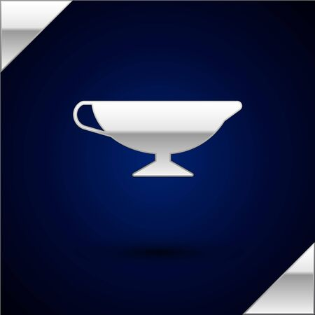 Silver Sauce boat icon isolated on dark blue background. Sauce bowl. Vector Illustration  イラスト・ベクター素材