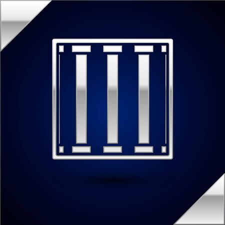 Silver Prison window icon isolated on dark blue background. Vector Illustration