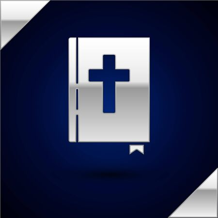Silver Holy bible book icon isolated on dark blue background. Vector Illustration
